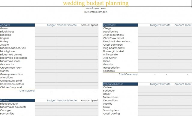 wedding budget breakdown spreadsheet sample