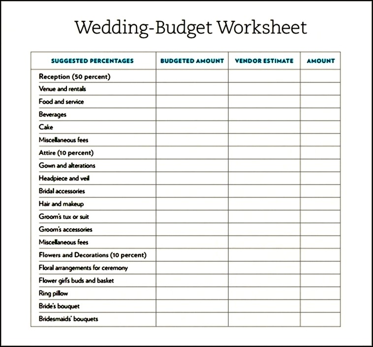 wedding budget template pdf