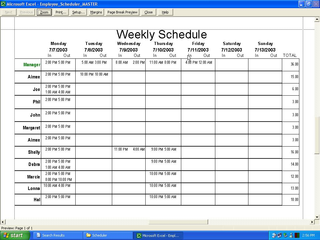 weekly schedule template word sample