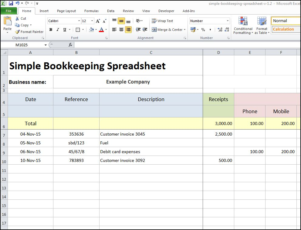 bookkeeping templates for self employed sample