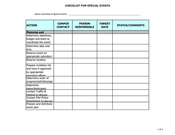 event planning outline sample