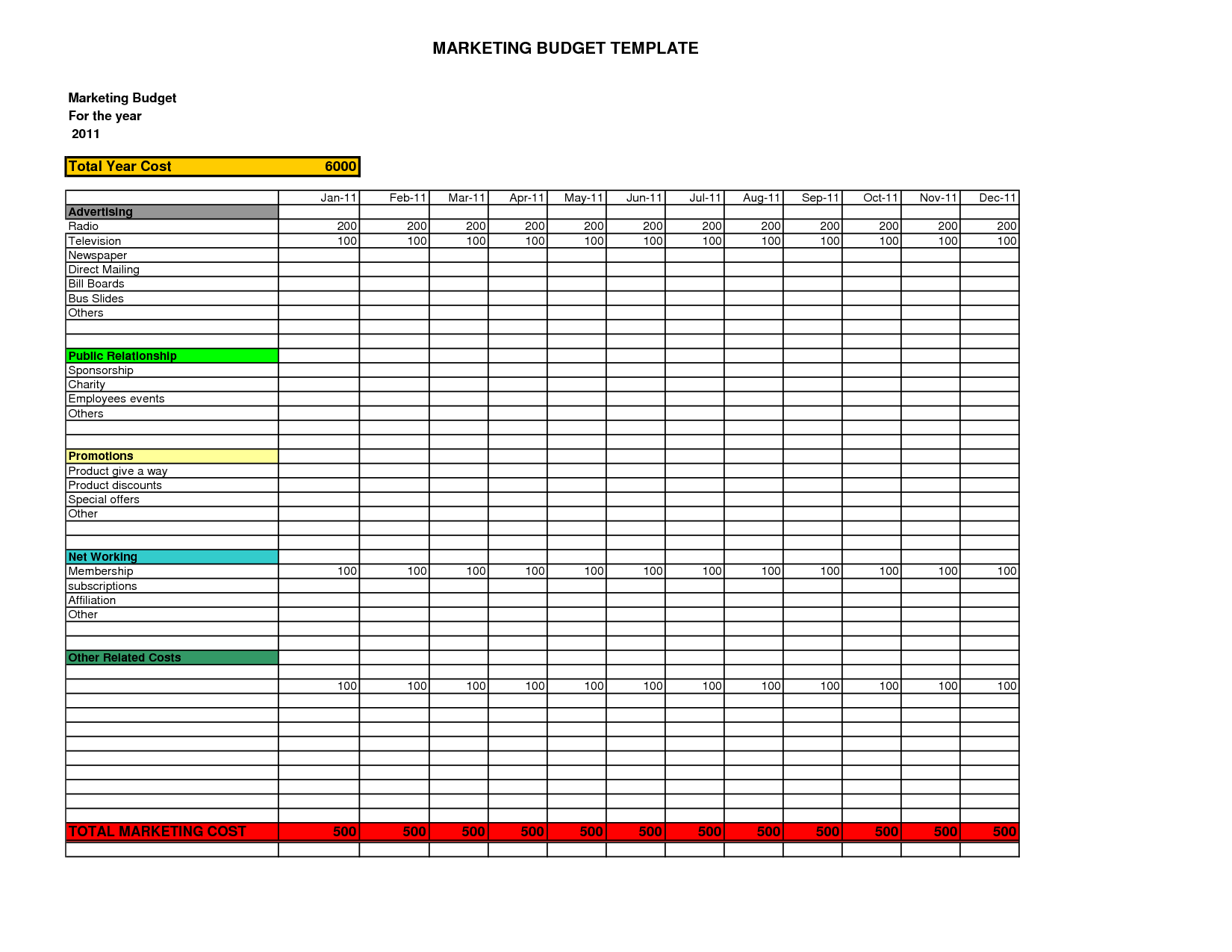 excel templates for business sample