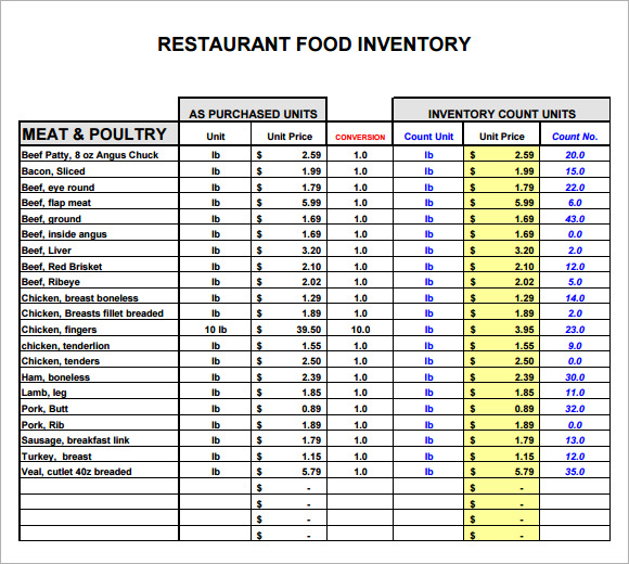 food stocktake template