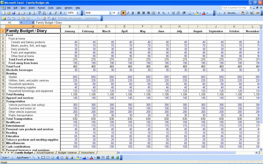 microsoft excel monthly budget template