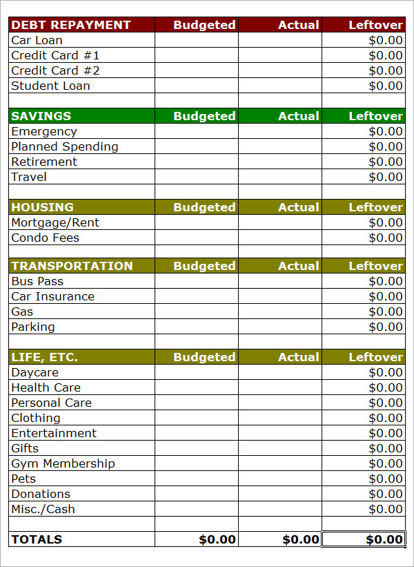 printable paycheck budget sheet sample