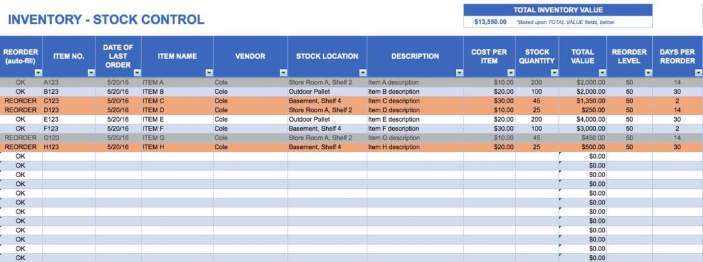 Basic Inventory Control Spreadsheet