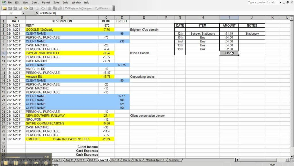 Basic Small Business Accounting Spreadsheet