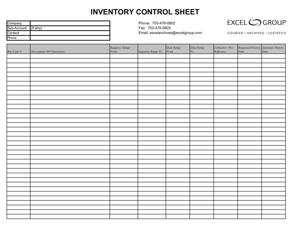 Free Inventory Control Management Excel Spreadsheet