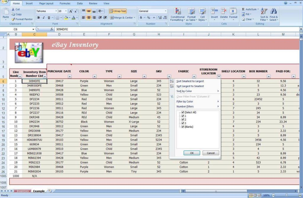 Small Business Inventory Tracking Spreadsheet