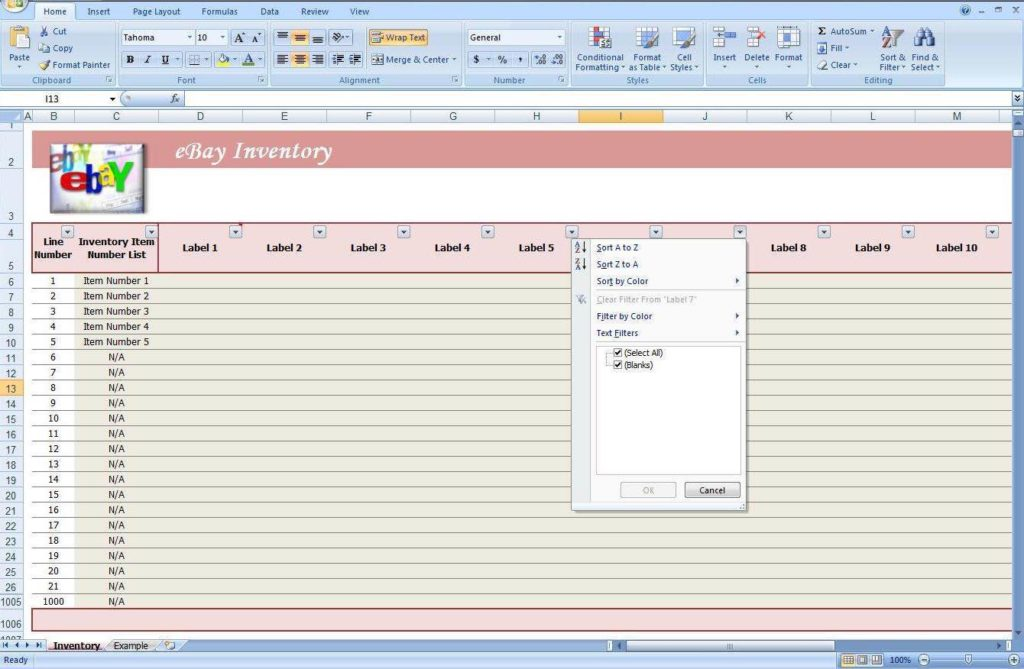 Spreadsheet for Business Inventory
