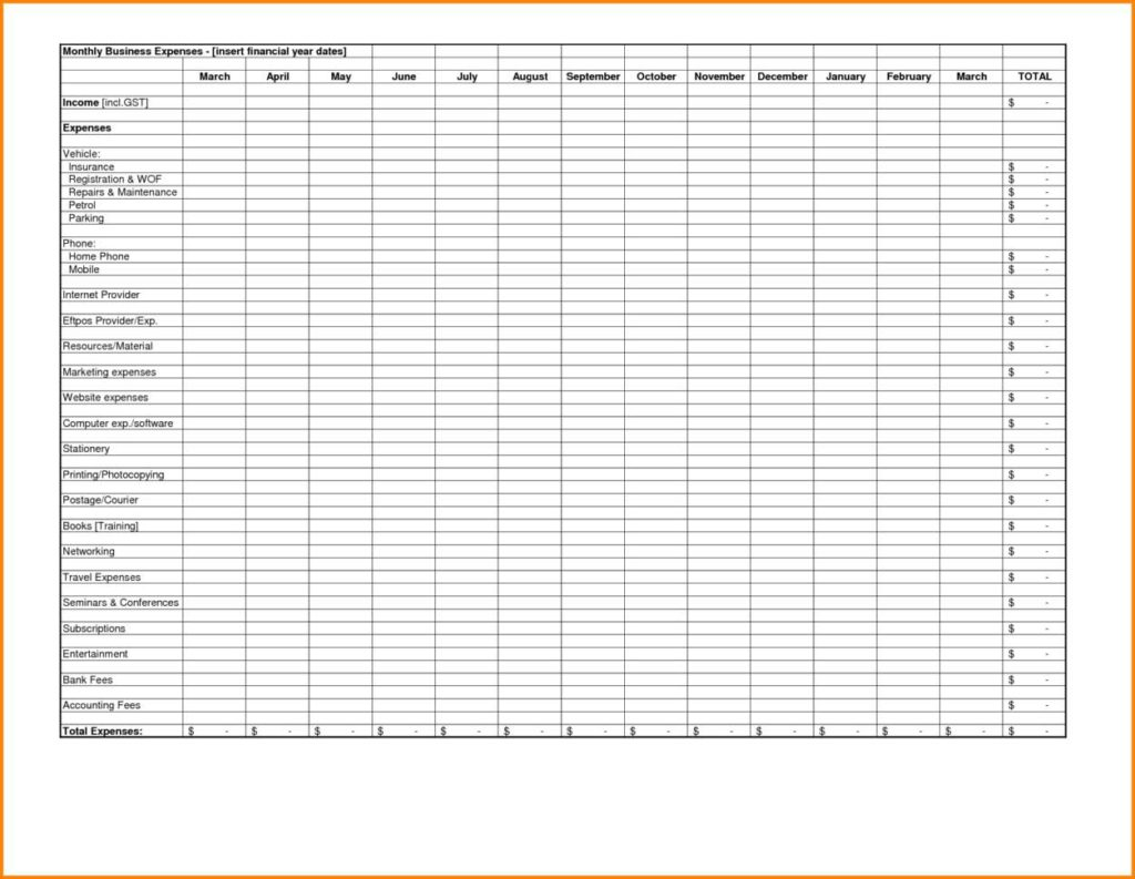 Excel Spreadsheet for Business Expenses and Free Excel Spreadsheet for Small Business Expenses