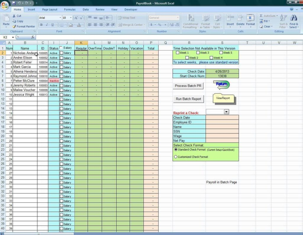 Excel Worksheet Payroll Calculations and Sample Excel Sheet for Payroll