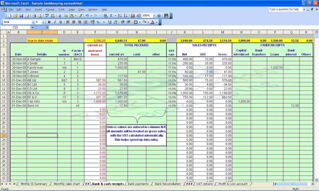 Excel for Small Business Bookkeeping and Small Business Bookkeeping Spreadsheet Free Download