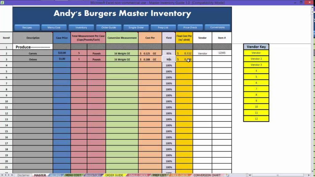 Restaurant Inventory Spreadsheet Download and Restaurant Inventory Sheet Pdf