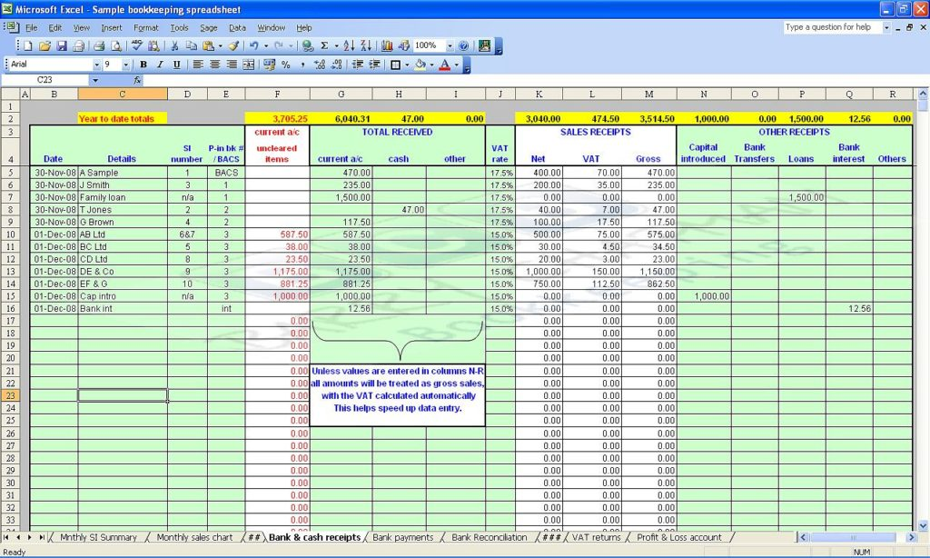 Self Employed Bookkeeping Template