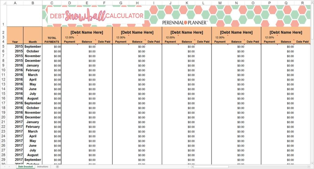 Snowball Debt Elimination Spreadsheet and Debt Elimination Calculator Snowball