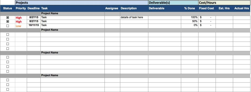Task Management Spreadsheet Template and Task Management Template Sharepoint