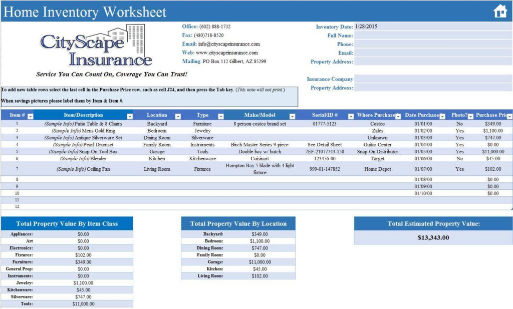 Tool Inventory Spreadsheet Template and Mechanics Tool Inventory Sheet