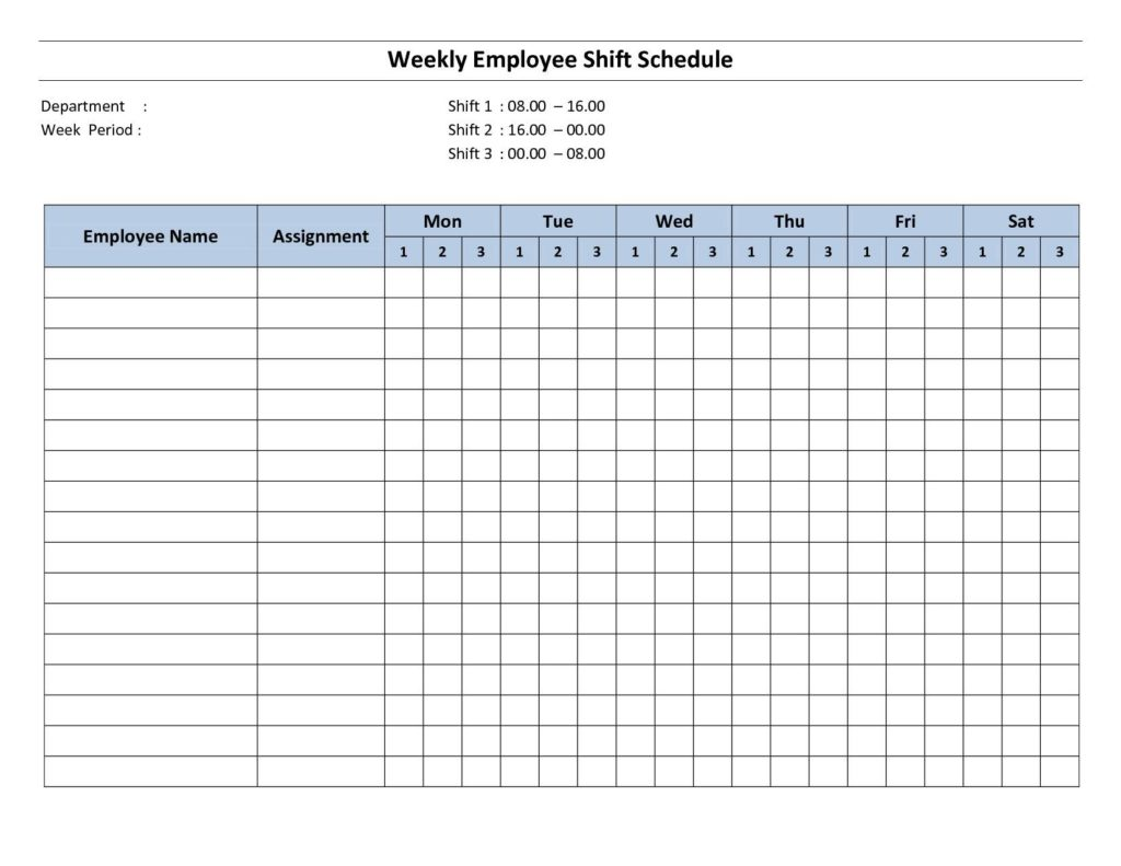 Weekly Employee Shift Schedule Template and Employee Shift Schedule Spreadsheet
