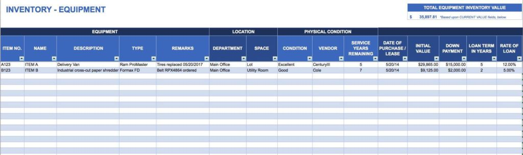 Basic Inventory Spreadsheet and Simple Inventory Control Sheet