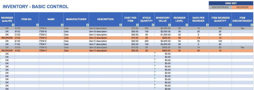 Hardware and Software Inventory Worksheets and Inventory Tracking Excel Template