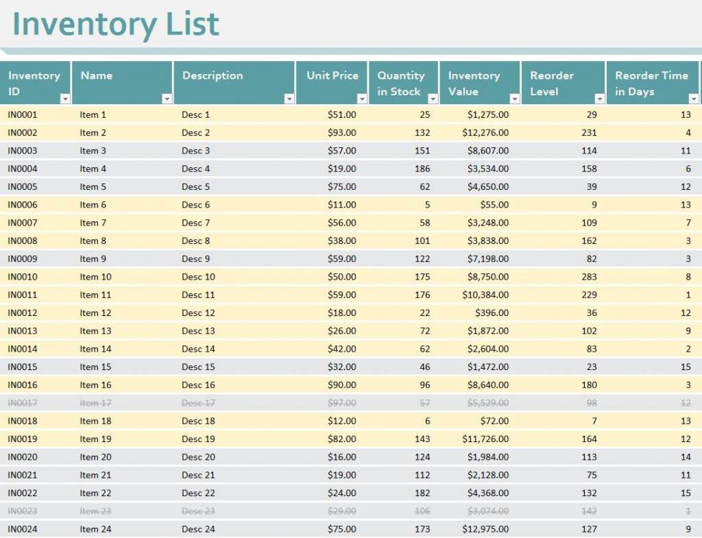Inventory Spreadsheet Template and Inventory Management Excel Format Free Download