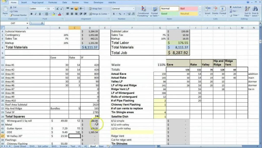 Construction Job Cost Tracking Spreadsheet And Job Material Spreadsheet For Excel