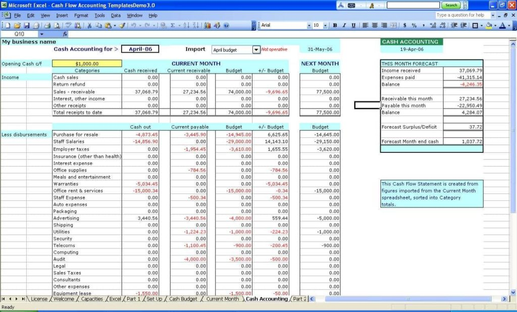 Free Business Accounting Spreadsheet And Bookkeeping Templates For Self Employed