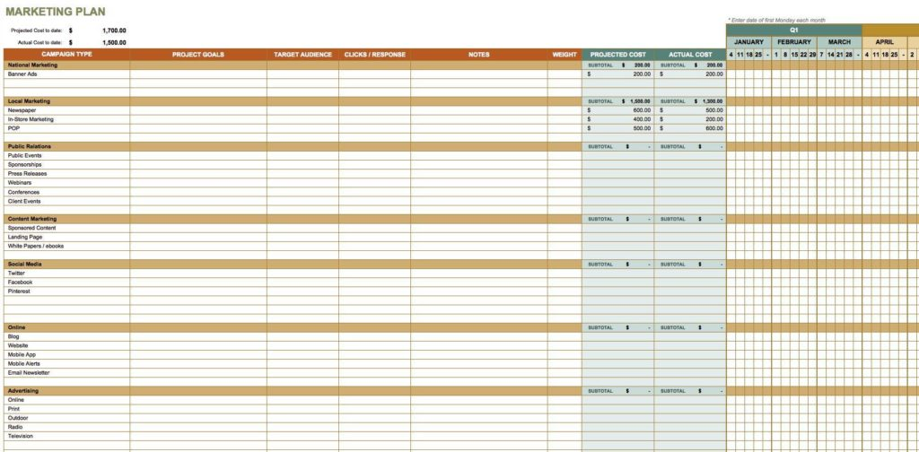 Marketing Lead Tracking Spreadsheet and Marketing Timeline Template Excel