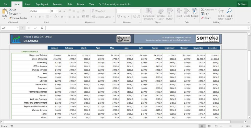 Profit and Loss Percentage Worksheet with Profit and Loss Report Excel