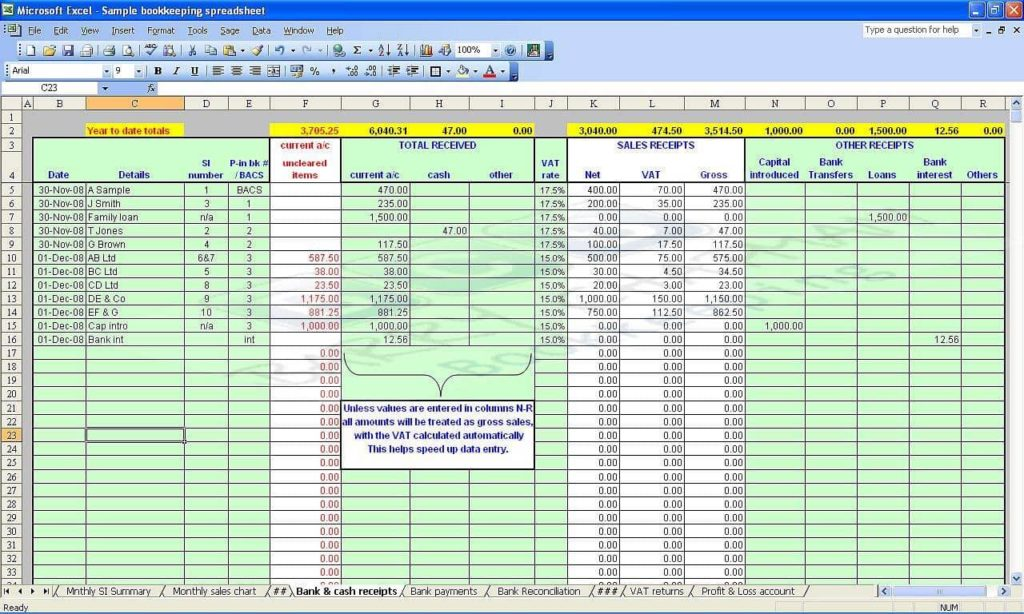 Sample Small Business Accounting Spreadsheets And Business Accounting Spreadsheets