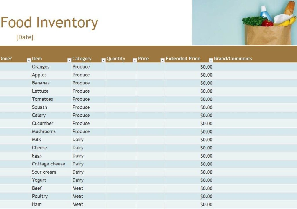 Spreadsheet For Food Inventory And Army Food Service Inventory Sheet