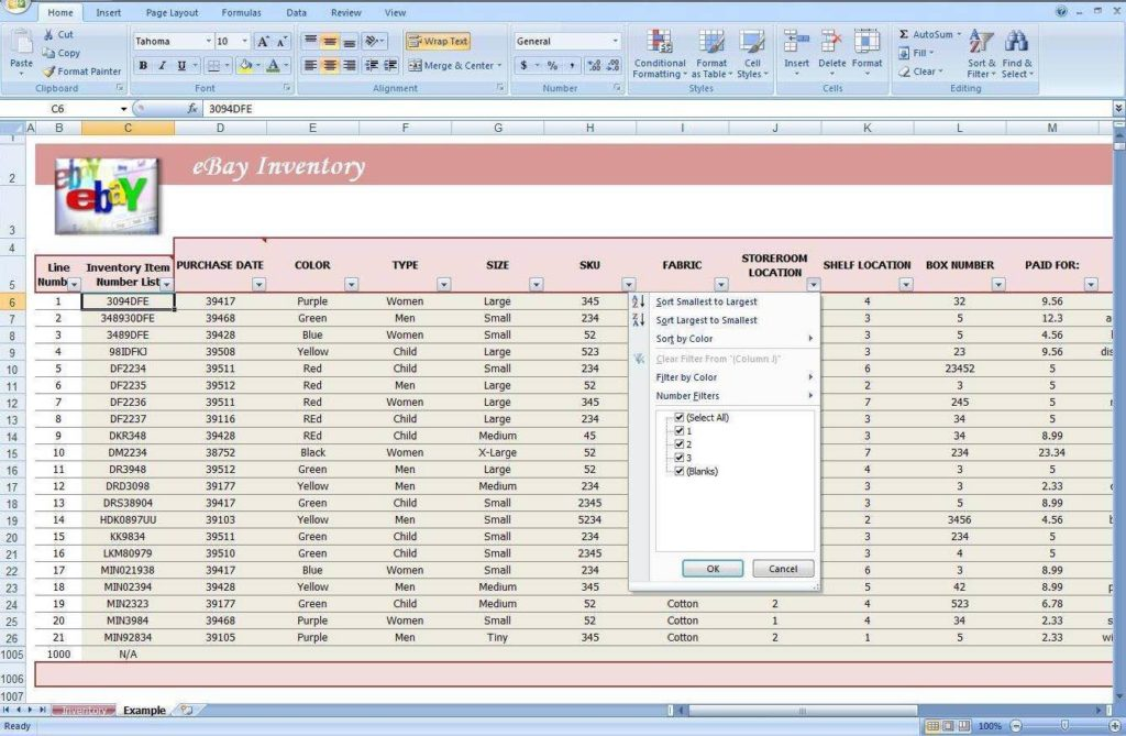 Example Of Excel Inventory Spreadsheet And Inventory Excel Formulas