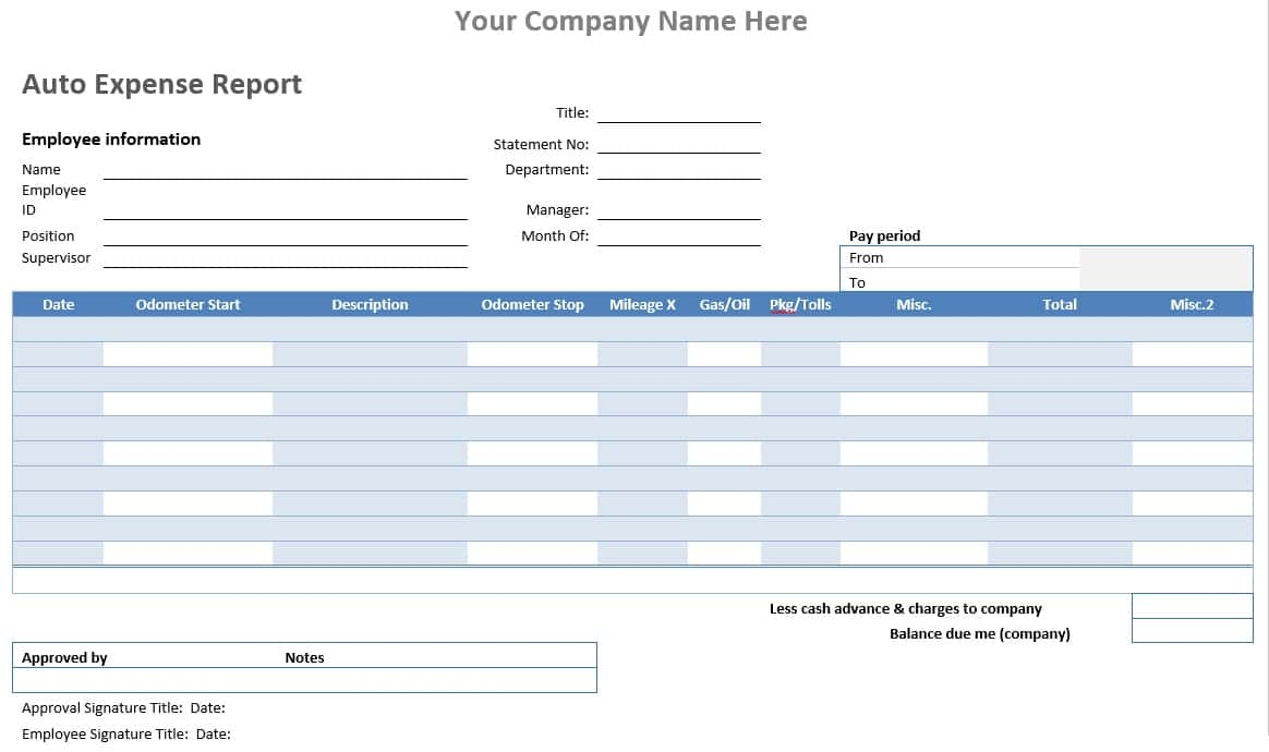 Expense Report Template Canada And Free Expense Report Template Downloads