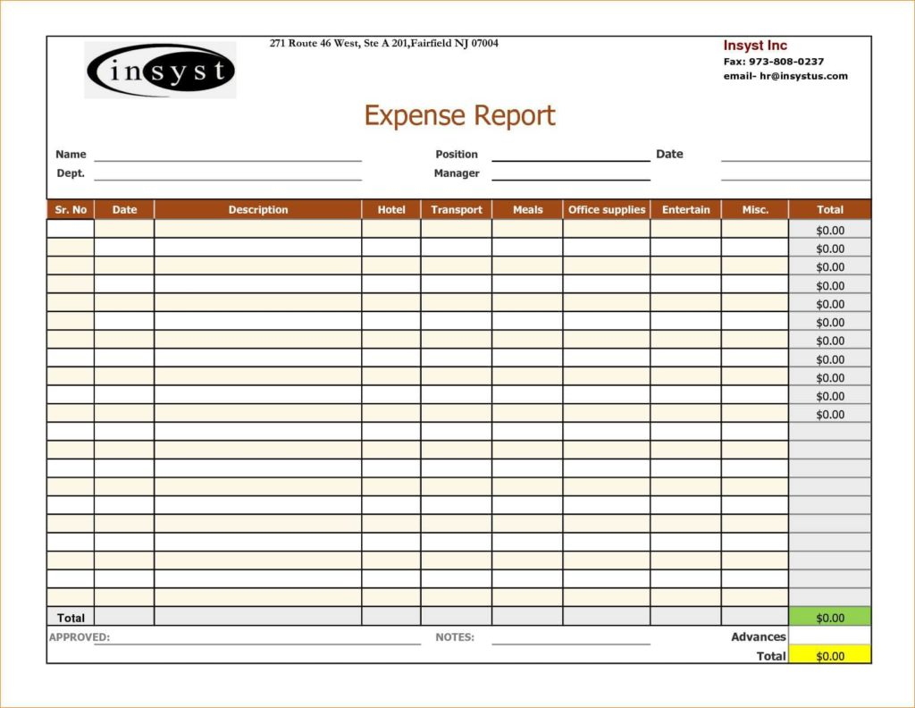 Sample Expense Report Forms Excel And Expense Report Template Word