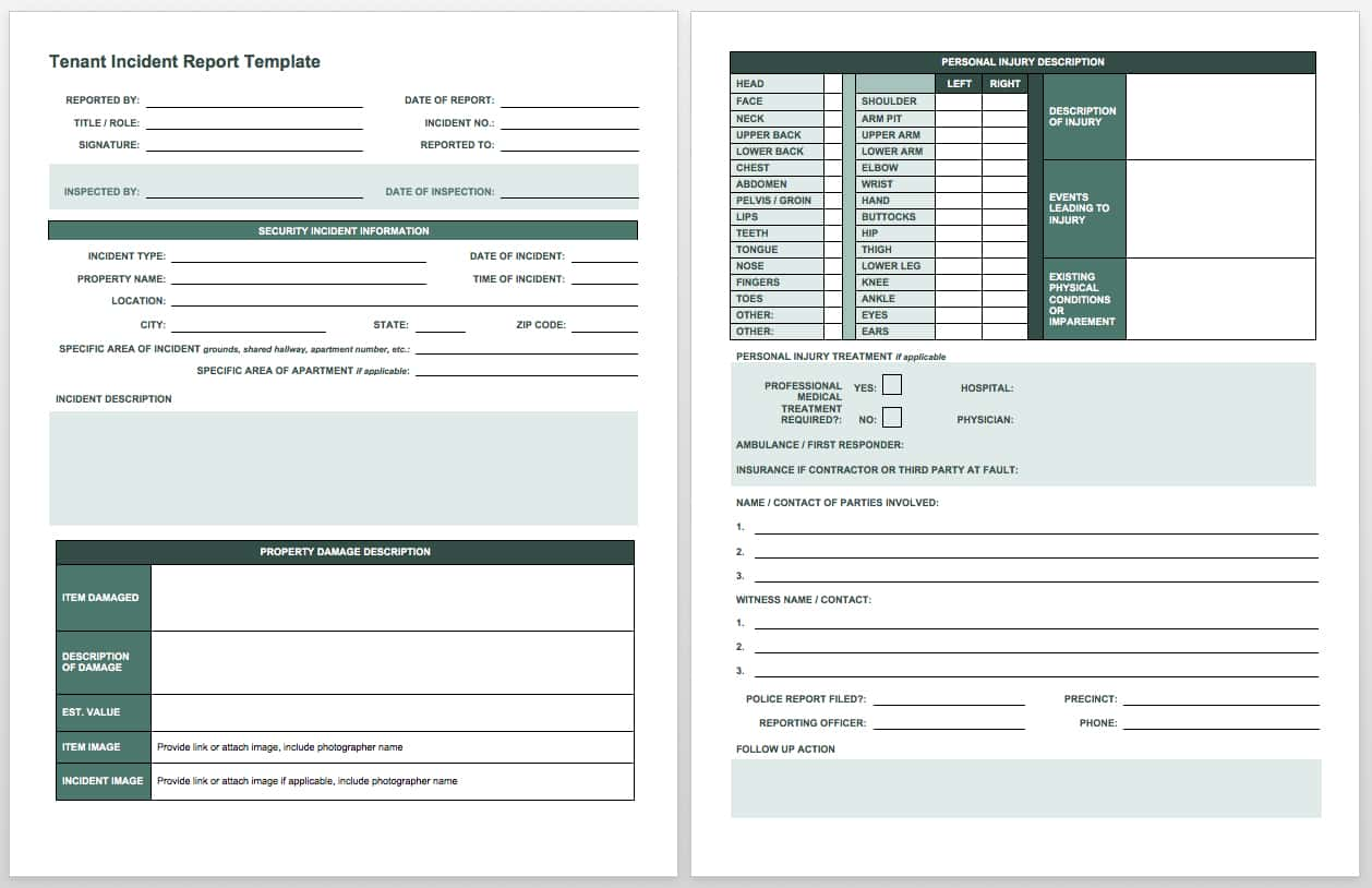 Construction Accident Report Form Example And Osha Accident Report Form