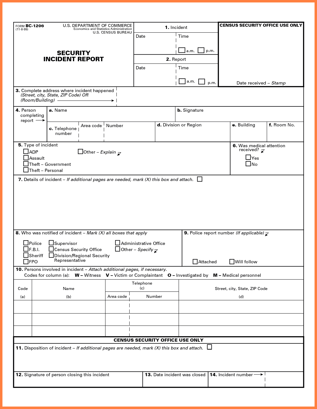 Construction Incident Report Form Pdf And Construction Incident Report Form Template