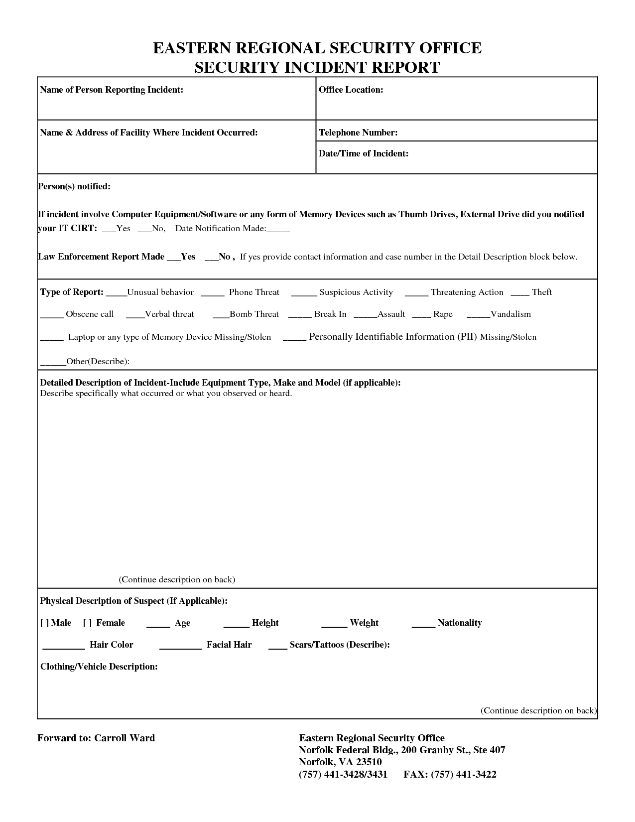 Cyber Security Incident Report Form And Security Incident Report Form Doc