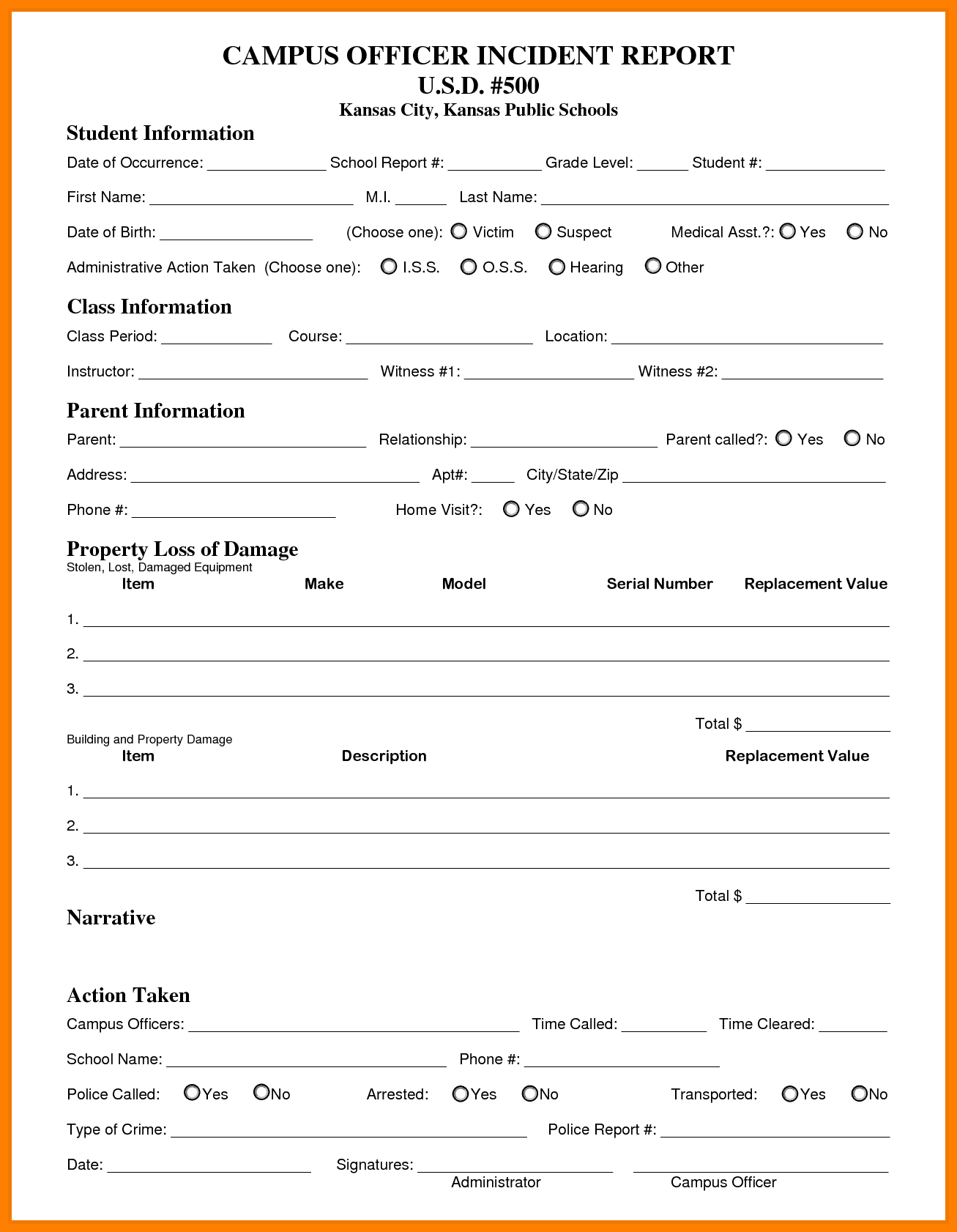 Security Incident Report Form Blank And Security Incident Report Sample Letter