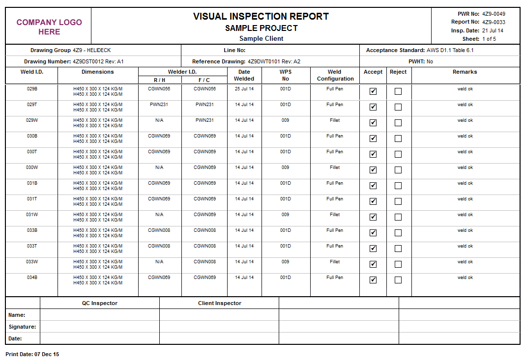 Visual Weld Inspection Report Format And Welding Visual Inspection Report Sample