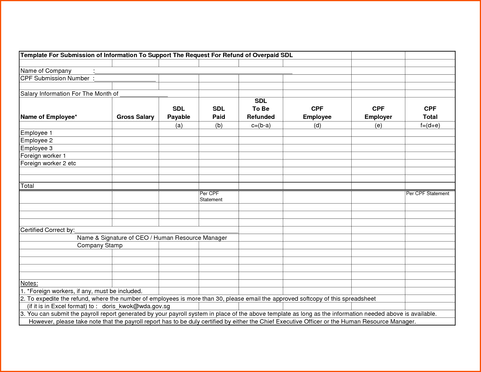 Payroll Template Pdf And Sample Payroll Reports