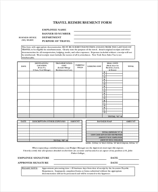 Company Travel Policy And Procedure And Sample Expense Report For Small Business