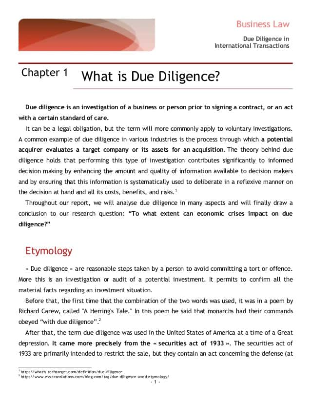 Due Diligence Report Template And Due Diligence Report Format Rbi