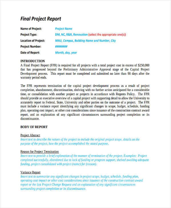 Example Abstract Final Project Report And Example Of Final Year Project Report Pdf