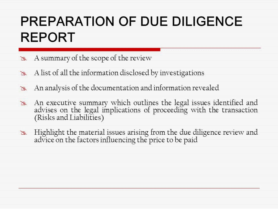 Example Of A Due Diligence Report And Due Diligence Report Commercial Property