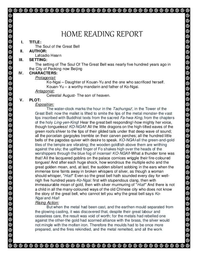 Example Of Book Report With Story And Book Report Example 6th Grade