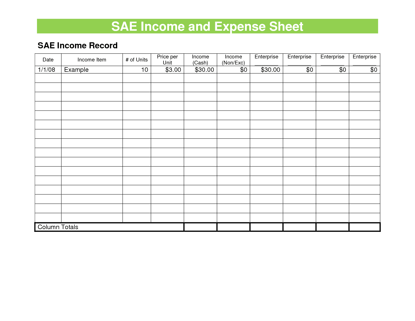 Example Of Business Income And Expense Spreadsheet And Business Budget Planning