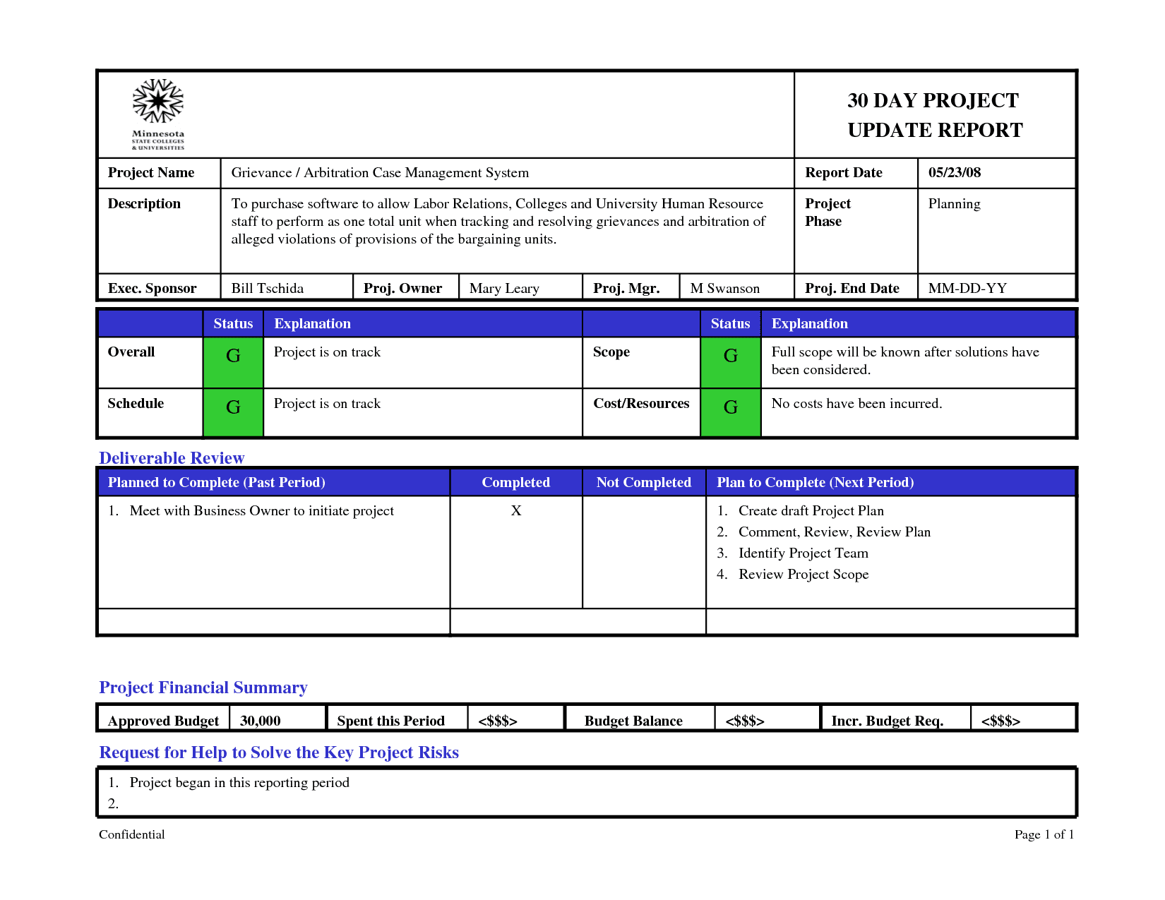 Example Of Project Planning Report And Example Of Project Appraisal Report