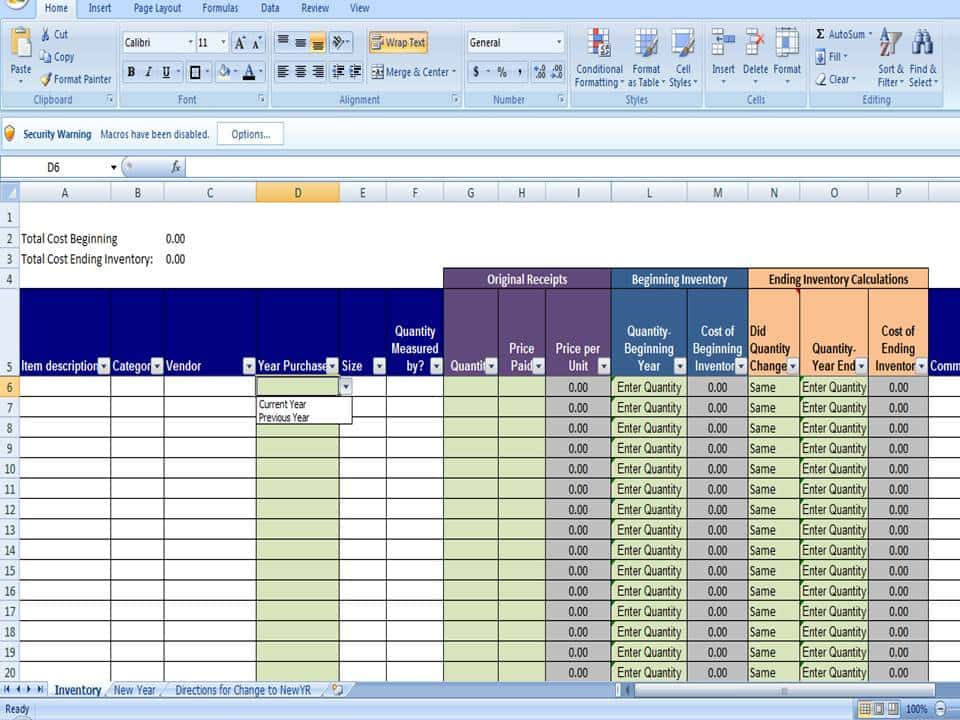 Examples Of Inventory Templates And Inventory Excel Formulas