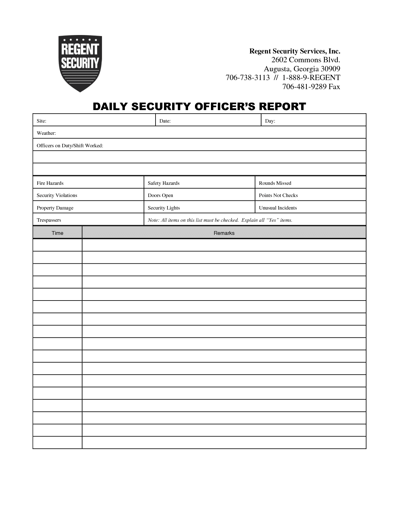 Incident Report Example For Security Guard And Security Patrol Report Example
